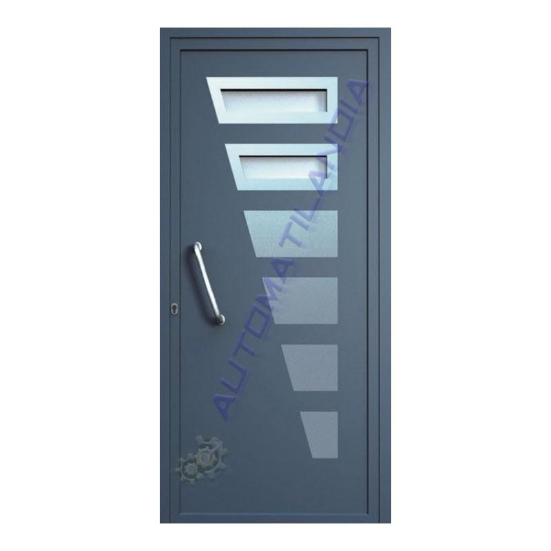Venta de puerta de aluminio con acero inoxidable cristal for Paneles de aluminio para puertas