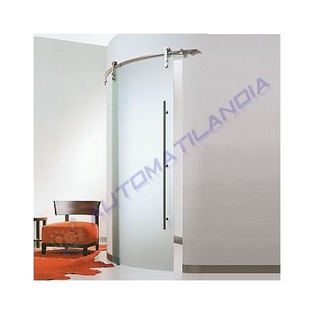 Puerta corredera cristal templado translucido curvo manual for Puerta cristal templado