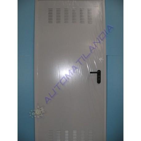 puerta trastero galvanizada blanca con rejilla 800 mm